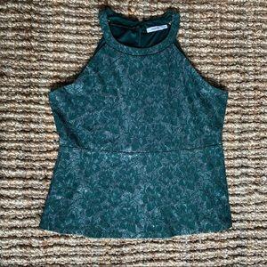 Ricki's sparkly shimmer floral green halter top